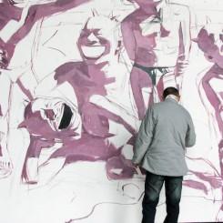 Yue Minjun in his studio, Beijing, 2006