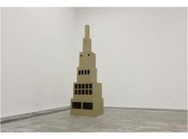 """Shi Qing, """"Caochangdi Window"""",  paper, 300 x 80 x 80 cm, 2013   石青,《草场地之窗》,2013,装置,纸、瓦楞纸,300.0*80.0*80.0cm (118""""*31""""*31"""")。"""