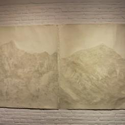 "Fu Xiaotong, ""Peak"" (#1 and #2), handmade paper, 150 x 150 cm, 2013 付小桐,《山峰 No.1和No.2》,手工纸, 150 x 150 cm, 2013"