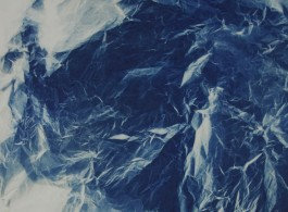 Wrinkled Texture 015, 2013, 152 x 112 cm, Photograph, cyanotype, rice paper-web