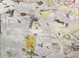 "Chris Huen, ""The Big Year, Birder and Black-legged Kittiwake,"" 2013, Oil, water color on canvas, 160 x 200 cm"