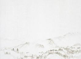 "JUN JUN HU,""Mountain – Rain Water,"" 2012, Oil on linen,60 x 79 inches; 153 x 200 cm 胡军军,《山–雨水》,2012,亚麻布面油画,60 x 79英寸/153 x 200厘米"