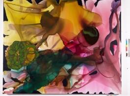 "Lara Merrett, ""Stop Making Sense"", acrylic and ink on linen, 180 x 230 cm, 2012 (Courtesy of Jan Murphy gallery)"