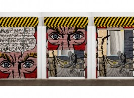 """Atul Dodiya, """"Eyes,"""" 2013, Exterior: Enamel paint and brass letters on motorized galvanized roller shutter with iron hooks; Interior: Oil, acrylic with marble dust and oil stick on canvas, Exterior: 274 x 183 cm; Interior: 220 x 159 cm"""