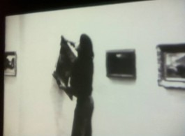 """Mike Steiner """"Irritation: There is a Criminal Touch to Art"""", 1976, Performance with Ulay - the (in)famous art theft action involving Berlin's Neue National Galerie and Hitler's favorite painting (Ulay tried to give it to Turkish 'Gast-Arbeiter' immigrants but they didn't like it.Mike Steiner,《激怒:对艺术有一丝罪意》,1976,与Ulay联合表演。这次有(馊)名的盗窃行为发生在柏林新国家馆,盗窃的是希特勒最喜欢的一幅画(Ulay试图把这幅画给土耳其的""""临时工""""移民,但人家并不喜欢)。"""