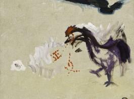 "Liao Guohe, ""Justice (Purple Rooster, Red Words),"" 2013, acrylic on canvas 50x60cm 廖国核,《正义(紫鸡 红字)》,2013,布面丙烯,50x60cm"
