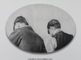 "Zhang Yunyao, "" The Back,"" 2013, charcoal on felt, 71× 100cm 张云垚,《背影》,2013年,碳粉毛毡,71× 100厘米"