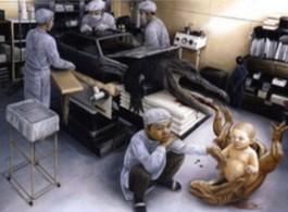 "Tetsuya Ishida, ""Descendant,"", 1999, Acrylic on board, 206 (103 x 2) x 291.2 (145.6 x 2) cm, © Estate of Tetsuya Ishida. Courtesy Gagosian Gallery. 石田徹也,《後代》,1999年,壓克力,木板,206 (103 x 2) x 291.2 (145.6 x 2)厘米 © Estate of Tetsuya Ishida. 圖片提供/高古軒畫廊"
