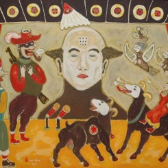"""Heri Dono, """"The Scapegoat Republic"""", acrylic on canvas, 150 x 200 cm (59 x 79 in), 2011. Presented by Rossi & Rossi."""