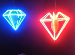 "Zhou Wendou ""Diamond Dreams 2 - Blue"", 2010, and ""Diamond Dreams 1 - Red"", 2010, at de Sarthe Gallery"