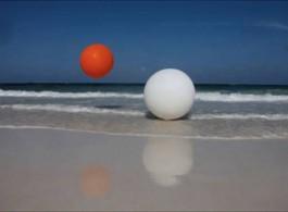 "Janaina Tschaepe ""Ballgame"" single channel video installation with no sound, DVD-loop or digital file, 9 min 28 sec., 2012."