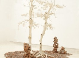 "Shi Jinsong, ""Pine Tree Garden"", trees and debris, dimension variable, 2012 史金淞,《雙松園》,樹木殘骸和建築殘骸, 尺寸可變,2012"