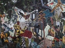 """Rodel Tapaya """"The Chocolate Ruins"""", Acrylic on canvas, 304,8 x 731,52 cm (120 x 288 in), 2013 (image courtesy the artist and ARNDT Berlin)"""