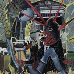 "Rodel Tapaya, ""Whisper Cutter"", acrylic on canvas, 193.04 x 152.4 cm, 2014"