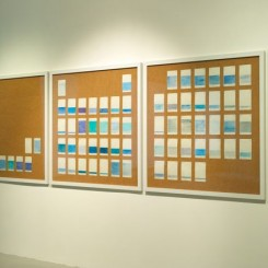 """Au Hoi Lam, """"Dad, What Shade of Blue Did You See Today?,"""" pencil, colour pencil, acid-free paper (daily-diary), copper nails, corkboard, acrylic board and wooden frame, a set of 13 pieces, 100 x 100 x 2.4 cm each,2012-2013 (Image courtesy of the artist and the Living Collection) 区凯琳,《爸爸,今天你看見怎樣的藍?》,鉛筆、木顏色、無酸紙(日記簿)、銅釘、水松板、膠片、木框,一組十三件,每件100 ×100 ×2.4, 2012-2013(图片由艺术家及奥沙画廊提供摄影:关尚智, Living Collection)"""