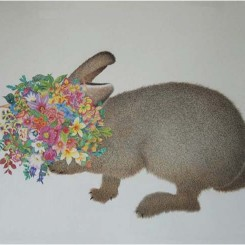 """兔子"", 纸上彩色铅笔, ""Rabbit,"" color pencil on paper, 56x76cm, 2013"