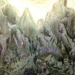 "Han Ho, ""Eternal Light-Lost Paradise"", canvas on Korean paper, LED, punch, 150 cm x 500 cm (detail), 2014 韩镐, 《永远的光-失乐园》, 布面宣纸、 LED、穿孔, 150 cm x 500 cm (局部), 2014"