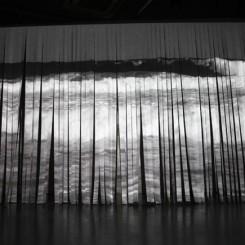 """Derek Kreckler, """"Untitled"""", single channel video installation, paper strip screen, electric fan, 2014 (courtesy of OCAT Shanghai)"""