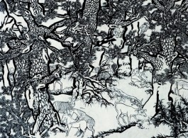 """Yang Jiechang, """"Black and White Mustard Seed Garden""""(detail) [Tale of the 11th Day series], 2009-2014, ink and mineral pigments on silk, mounted on canvas, 8 panels, each 280 x 141 cm 杨诘苍,《十一日谈系列:白描芥子园》 ( 局部), 2009-2014年, 墨,矿物彩,绢,裱于布面, 280 x 141 cm/张,共8 张"""