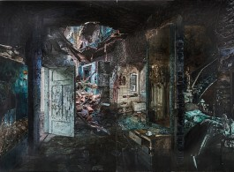"""Yuan Yuan, """"Welfare Hotel"""" (福利旅館) , Oil on linen, 380 x 270 cm (diptych),2014 (image courtesy the artist and Edouard Malingue Gallery)"""