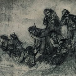 """Wang Shenglie, """"Overall Sketch For Eight Heroines"""", charcoal on paper, 1957王胜烈,《八女投江素描稿》,纸上炭笔,1957"""