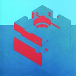 "Mai Zhixiong, ""Machinery Series No. 2"", acrylic and pencil on canvas, 200 x 200 cm, 1994. Part of the UCCA exhibition ""Hans van Dijk: 5000 Names.""麦志雄,《机械系列二号》,布上丙烯,铅笔,200 x 200 厘米,1994。选自UCCA展览""戴汉志:5000个名字""。"