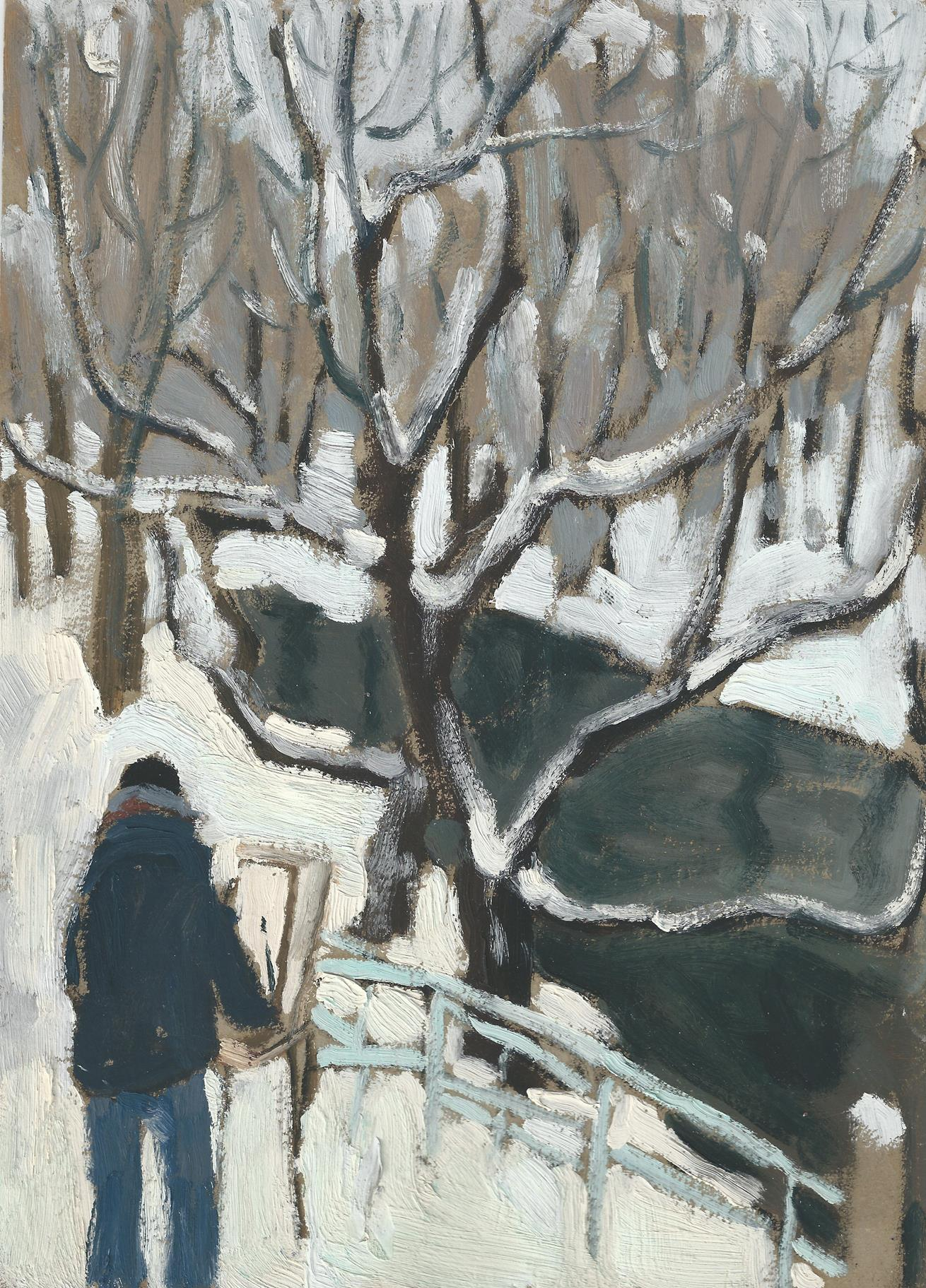 LI SHAN, Snow Scene,1970s,Shown in Wu Ming Exhibition in 1979,Oil on paper,李珊,雪景, 纸上油画,在1979年无名画会群展中展出,28.4 x 20.2cm, 11 3/16 x 7 7/8 inches