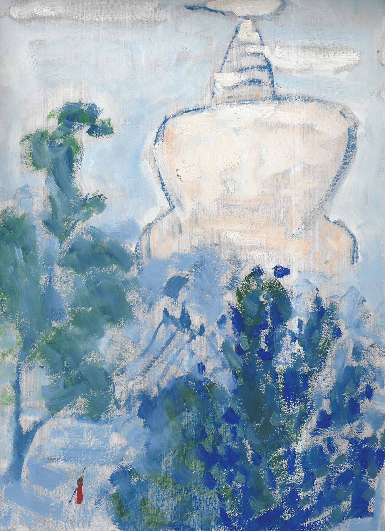 LI SHAN, The White Pagoda,Oil on paper, 李珊,白塔 , 1970s, 纸上油画 32.4 x 21.8cm, 12 3/4 x 8 5/8 inches