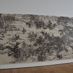 """Yang Jiechang,""""Black and White Mustard Seed Garden(Tale of the 11th Day series),8 panels, each ca.280 x 141cm, ink and mineral pigments on silk, mounted on canvas, 2009-2014(detail).杨诘苍,《十一日谈系列:白描芥子园》(局部),8幅,每幅尺寸约280 x 141cm,墨、矿物彩,绢本(裱于布面)。"""