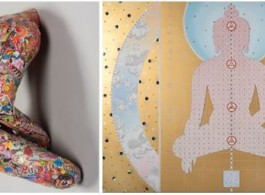 Left: Untitled (red base), 2012, 16 x 18 x12 inches, Mixed media collage, and pencil on resin sculpture