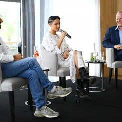 Alex Israel,  FKA Twigs and Hans Ulrich Obrist attend a Surface Magazine talk at Edition Hotel.  (Photo by Astrid Stawiarz/Getty Images for Surface).