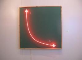 "Firat Engin, ""Point A to Point B"", mdf, wood, neon, chalk, 113 x 113 x 10 cm, 2013"