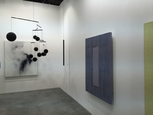 Galerie Perrotin booth: Écriture series by Park Seo-bo and Xavier Veilhan's