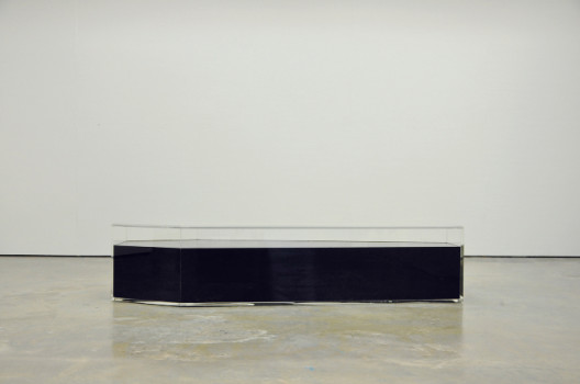Oil Painting; Coffin (Long Stay) 2012, 190 x 60 x 45 cm, Recycle Engine Oil, Perspex (Courtesy of the Artist and Encounter Contemporary)