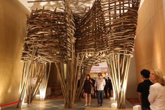 """Art Stage Singapore 2014, entrance arch, """"The Continuous Gate"""" by Joko Dwi Avianto"""