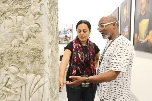 Art Stage Singapore 2014, India Platform curator Bose Krishnamachari and artist Sakshi Gupta
