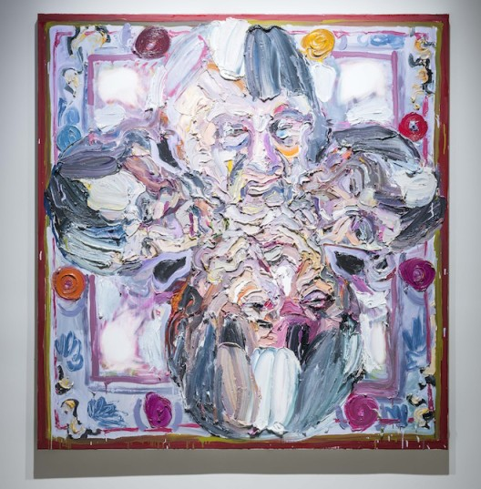 """Ben Quilty, """"Painting For a Rug About My Dad"""", oil on linen, 160 x 170 cm, 2014. Photo by Mike Pickles / studioEAST."""