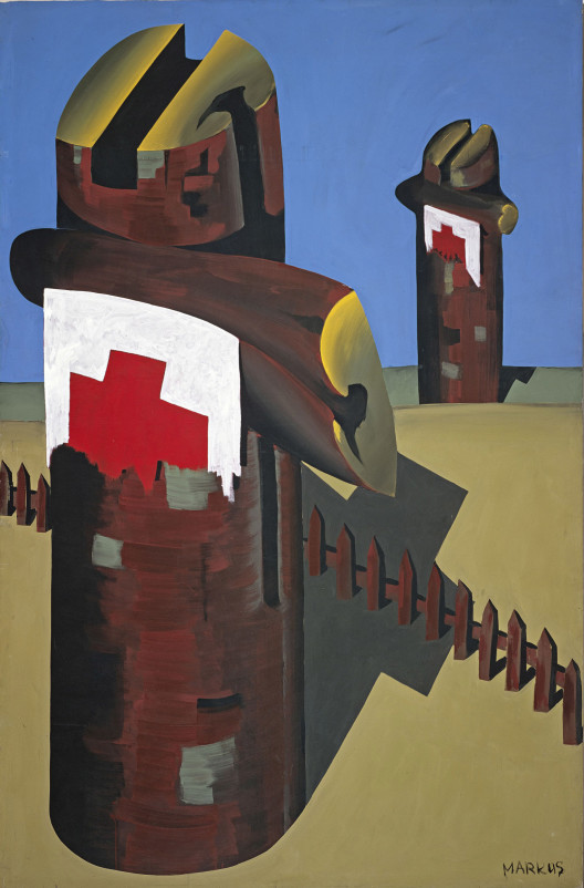 "Markus Lupertz, ""Rote Kreuze – dithyrambisch (Red Crosses – dithyrambic),"" distemper on canvas, 305 x 198 cm, 1967. Courtesy Michael Werner Gallery, New York and London."