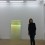 """Ann Veronica Janssens with """"Magic Mirror (Yellow)"""" 2015 at Esther Schipper Gallery, March 5, 2015 (photo: Chris Moore)"""