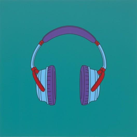 "Michael Craig-Martin, ""Untitled (headphones medium)"", acrylic on aluminium, 122 x 122 cm (unframed), 2014, ©Michael Craig-Martin迈克尔·克雷格-马丁,《无题(中号耳机)》,铝板丙烯,122 x 122 cm (无框),2014,©Michael Craig-Martin"