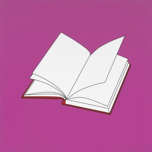 "Michael Craig-Martin, ""Untitled (book)"", acrylic on aluminium, 200 x 200 cm (unframed), 2014, ©Michael Craig-Martin迈克尔·克雷格-马丁,《无题(书)》,铝板丙烯,200 x 200 cm(无框),2014,©Michael Craig-Martin"