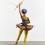 "Yinka Shonibare, ""Ballet God (Zeus)"", fibreglass mannequin, Dutch wax printed cotton textile, lightning, gun, globe, pointe shoes and steel baseplate, 236 x 155 x 140 cm, 2015."