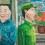 "Liu Wei, ""revolutionary family"", 100x100 cm, oil on canvas, 1992刘炜,《革命家庭》,布面油画,100x100 cm,1992"