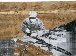 Zhang Huan (b. 1965),  Memory Door (Gun), 2007, Silkscreen mounted on canvas on antique wooden door, 135 x 264 cm; (54 1/4 x 104 in.)
