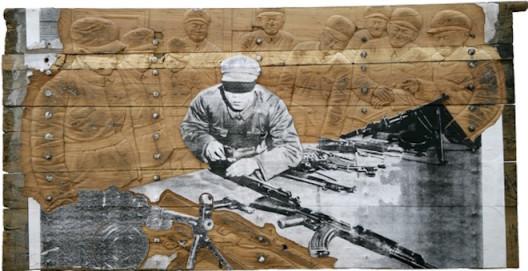 Zhang Huan (b. 1965),  Memory Door (Gun), 2007, Silkscreen mounted on canvas on antique wooden door, 135 x 264 cm; (54 1/4 x 104 in.)