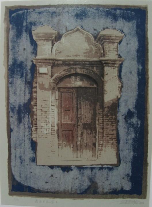 """Zhou Jirong, """"Last Memory No. 2"""", Silkscreen, 65 x 48 cm, 1997周吉荣,《最后的记念之二 (11/14)》,丝网版画,65 x 48 cm,1997"""