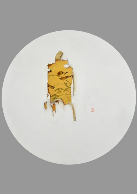 "Chen Jiaye, ""To Tear No. 8"", Oil on canvas, Diameter: 100 cm, 2013陈家业,《撕系列之八》,布面油画,Diameter: 100 cm,2013"