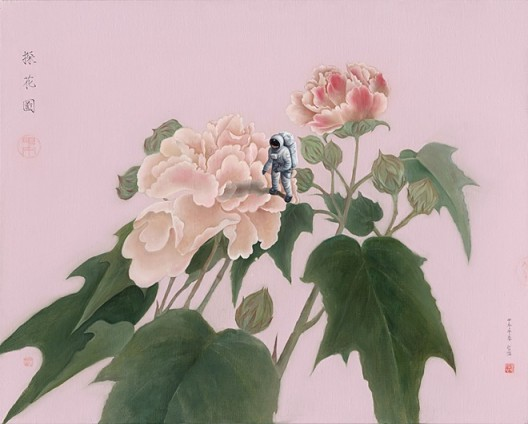 "Chen Jiaye, ""Highly Prized Flowers"", Oil on canvas, 80 x 100 cm, 2014陈家业,《探花图》,布面油画,80 x 100 cm,2014"