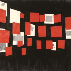 刁德谦,《滑动》,1984,布面丙烯,178 x 254 厘米。由艺术家和纽约Postmasters画廊提供。 David Diao, Glissement, 1984, acrylic on canvas, 178 x 254 cm. Courtesy the artist and Postmasters Gallery