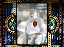 Sarkis, IK. 141 4.3.2003 (à Paradjanov), 2003. Watercolor on glass on photo stained glass frame, Alsace late XIX.